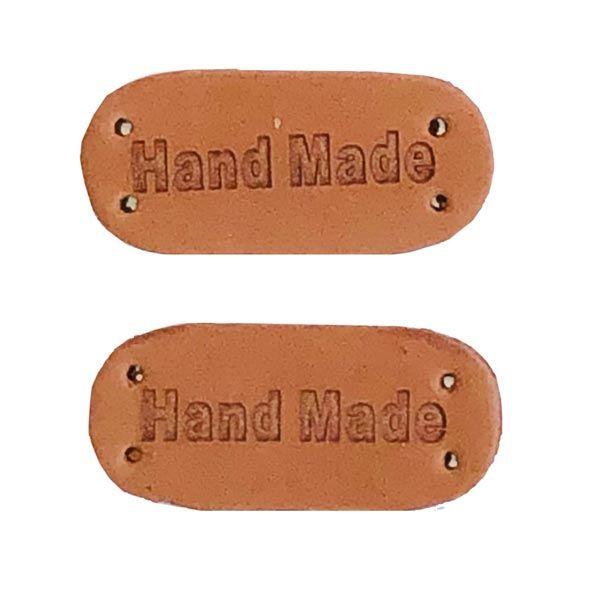 Etikett Handmade Leder Aufnäher nähen
